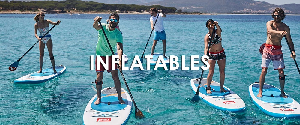Red inflatable paddle boards